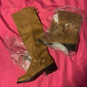 NWT JustFab wide calf tan boot